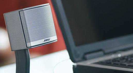 Two desktop speakers deliver lifelike sound