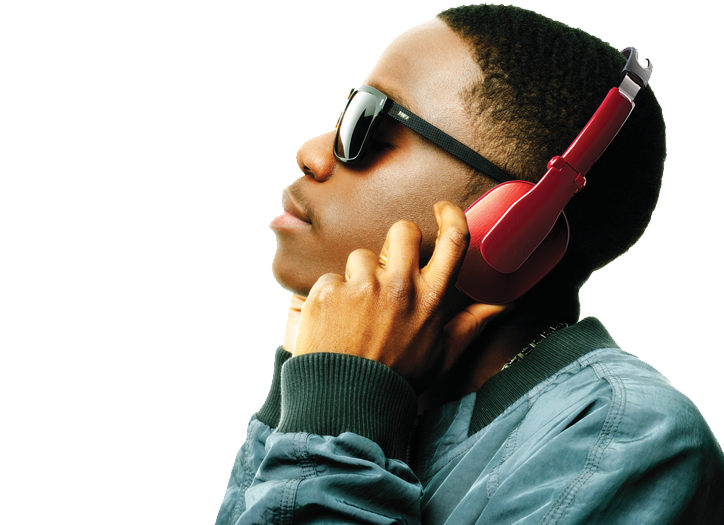 image of Tinchy Stryder with Goji headphones